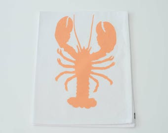 Tea Towel - Lobster in Apricot - Hand Printed - Cotton