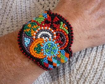 """Beaded Boho ARt Deco Zen Bracelet 6.5"""""""