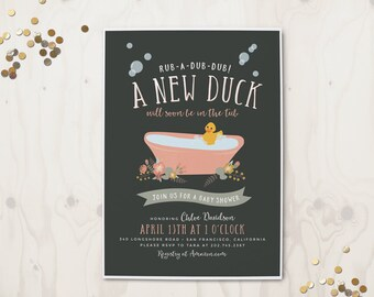New Duck in the Tub - Baby Shower invitation