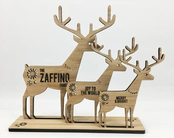 3D Personalised Bamboo  Reindeers (Set of 3)