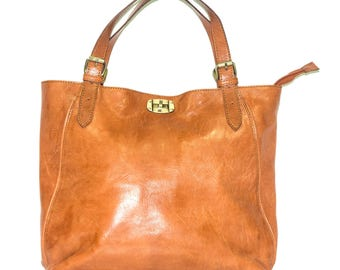 Tan Brown Leather Handbag | City Shoulder Tote