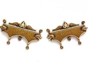 2 Antique Bronze Nouveau Connectors - 1-52