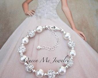 Swarovski pearl bracelet BLING Brides bracelet Classic Wedding Jewelry Brides Bridesmaids Mother of the Bride Bridal Jewelry RAE