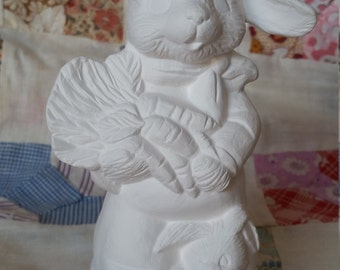 Carrots Anyone? Boy Rabbit - Unpainted Ceramic Bisque - ready to paint DIY Easter art project - u paint, paintable bunny wearing clothes