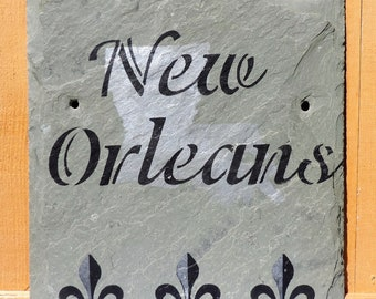 New Orleans Louisiana Sign Handpainted Recycled Roofing Slate