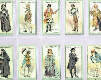"""British Cigarette Card Set of 25 Cards. Characters of Thackeray Issued in 1913 by John Player Cigarettes. Artwork by """"Kyd"""" J.C.Clarke."""