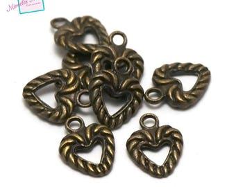 "bronze 20 ""13 x 10 mm heart"" charms, 008"