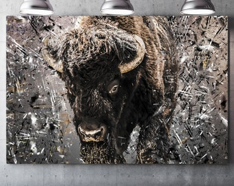 The charge of the Bison - draw on canvas varnish Premium canvas - Photo and creating Global Graphic Arts