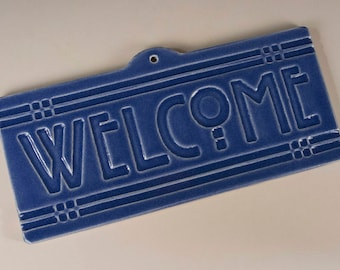 Welcome Tile - Arts & Crafts Mission Style - Blue Glaze
