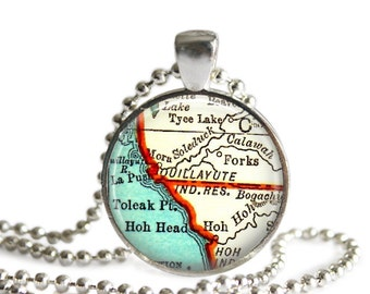 Jewelry, Forks, Washington map necklace pendant charm: jewelry charms, map jewelry, Gift for Best Friend, Friend Gift, Forks Map, A306
