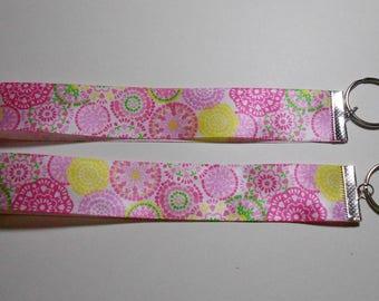 Flower Burst Design Silky Ribbon Keyrings