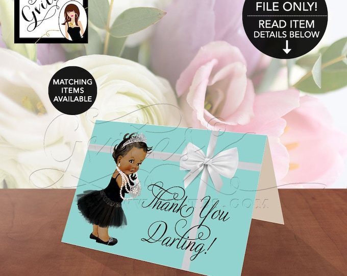 """Thank you darling! African American Baby thank you, blue themed shower, breakfast at co.5x3.5"""" 2 Per/Sheet {Non-Customizable}"""