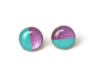 Purple and Turquoise Stud Earrings, Hypoallergenic Post Earrings