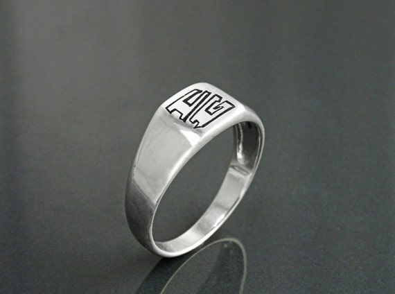 Personalized Engraved Men's Ring with YOUR Initials, Many Choice of Letters Fonts Styles, Sterling Silver, Man Gift, Names Small Signet Ring