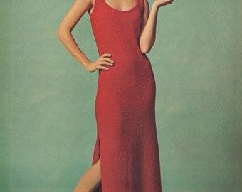 1970s Simply Sensational Maxi Dress Knitting Pattern PDF 7210 Bust 34 36 38 40 42 Maxi Dress Pattern 70s S M L Xl