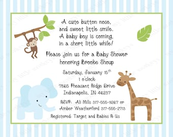 10 Jungle Baby Shower Invitations with Envelopes.  Free Return Address Labels