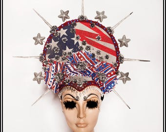 AmeriCrown.... America Themed Headdress With Flowers and Beads