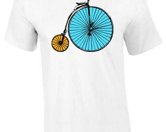 Mens Penny Farthing T-Shirt S M L XL XXL Bicycle Vintage Unique Olden Days Tee