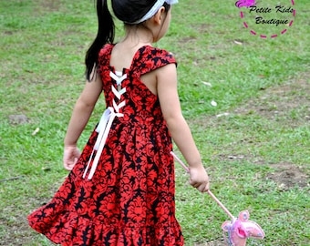 Petite Kids Boutique Megan Dress -  12M - 8Y PDF Pattern & Instructions- twirly skirt-lace up back bodice- fully lined bodice