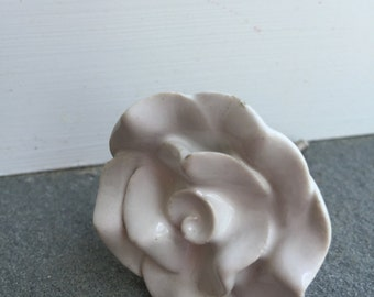 Rose Knob, White Rose Knob, Ceramic Knob, Rose Knob, Knobs, Drawer Pulls