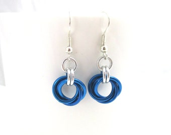Chainmaille Earrings - Royal Blue Earrings - Mobius Chainmaille Earrings - Earrings for Sensitive Ears - Small Dangle Earrings