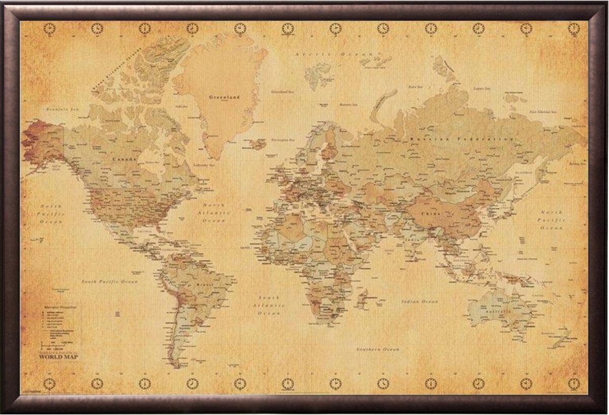 Mapa del mundo vintage en Premium cobre acabado madera marco