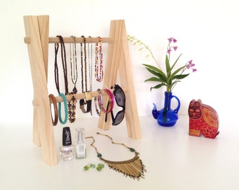 Wooden Jewellery Display Stand, Accessory Rack, Hair Accessory Organiser, Necklace Hanger, Shop & Market Display Stand, Storage Rack
