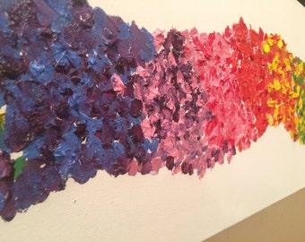 Abstract Painting Oil Contempary Art Rainbow Canvas Rectangular Nursery Decor