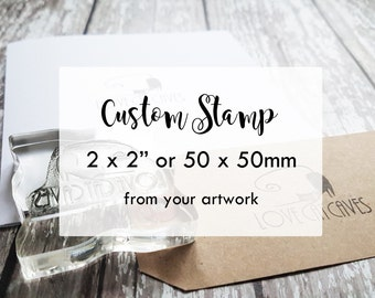 Custom Stamp, custom logo stamp, custom rubber branding stamp 2x2 inches