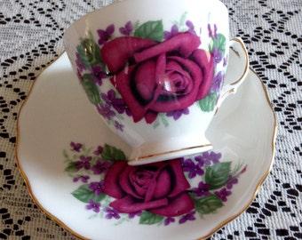 Vintage Royal Vale Teacup Roses and Violets 1950's for Birthday, Friendship, Housewarming, Retirement, Bridal Shower