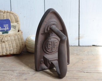 Vintage French Flat Iron - Sad Iron - Bookend - Doorstop - Anchor Motif - CF