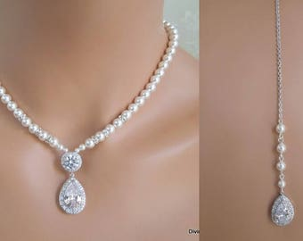 bridal necklace, Pearl Backdrop Necklace, Bridal rhinestone necklace, wedding necklace, bridal jewelry, cubic zirconia necklace, WHITNEY