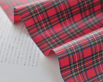 Laminated Cotton Fabric - Tartan Check - Red - By the Yard 85058