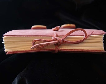 Pink notebook, gift, present, leather bound journal, hand crafted,