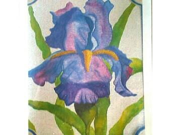 Set Of Iris Watercolor Blank Greeting Cards