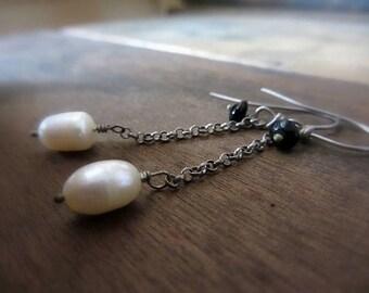 Floating pearls earrings, Oxidized silver chain earrings, Long dangle earrings