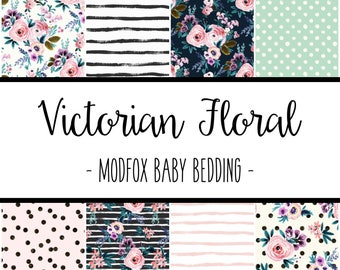 Victorian Floral Baby Bedding - Floral Baby Bedding - Floral Crib Sheet - Floral Baby Blanket - Floral Changing Pad - Floral Crib Bedding