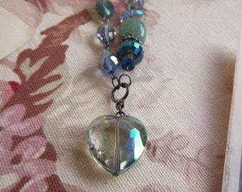 Gorgeous beaded necklace with large crystal heart pendant