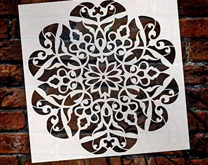 Featured listing image: Mandala - Flower Swirls - Complete Stencil by StudioR12   Reusable Mylar Template   Use to Paint Wood Signs - Pallets - Pillows - Wall...