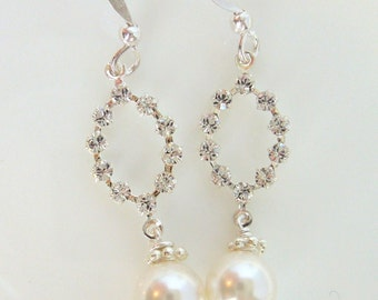 Crystal and Pearl Bridal Earrings - Wedding Rhinestone Jewelry - White Pearls and Clear Crystals