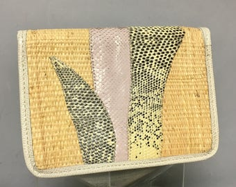 80's DESIGNER Wallet or Billfold with SNAKESKIN, 1980s Carlos FALCHI Checkbook Holder, Small Clutch Bag