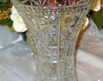"""Vintage Lead Crystal - Tall Flared Vase 10"""""""