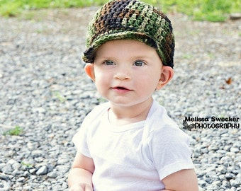 Crochet Camo Hat/ Boy Camo Hat/My LITTLE HUNTERS CAMO Baby Hat (Ready to Ship)