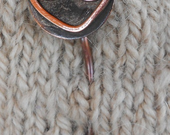 Shawl Pin copper with Spiral Heart
