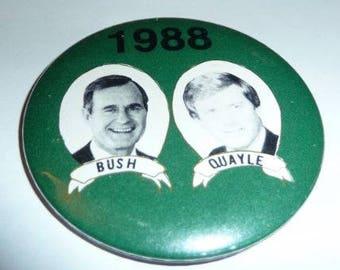 Bush Quayle 1988 Presidential Campaign Pin Pinback Button Politics Republican GOP George H.W. Bush Dan Quayle Vintage Political Memorabilia
