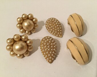 Lot Pairs Vintage Earrings - Faux Pearl - Gold Tone Earrings - Triad Jewelry - Bridal Jewelry
