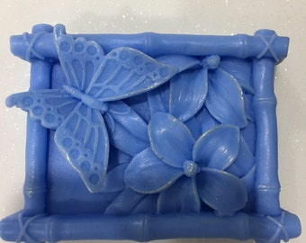 Butterfly and leaf Lavender Handmade Soap