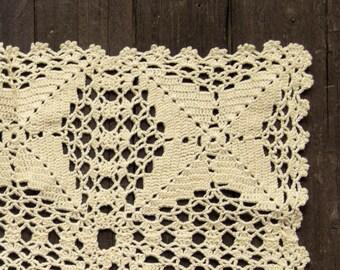 Light Yellow Crochet rectangular Doily vintage doily