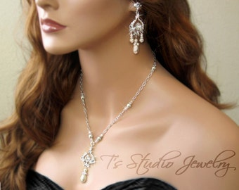 Pearl and Crystal Chandelier Bridal Necklace and Earrings Set - Ivory Pearl Wedding Jewelry