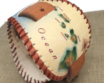 Hawaiian Islands Baseball Leather Cuff Bracelet Wristband, Deconstructed, Unisex Sports Fan, Adjustable, USA Handmade by Greenbelts, OOAK